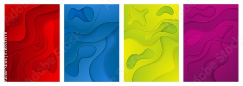 3D abstract background. A set of four options. Layers cut from paper. A4 template for banner design, booklets, flyers, postcards, presentations.  - 268531579