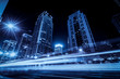 canvas print picture - Road City Nightscape Architecture and Fuzzy Car Lights..