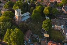 Aerial Shot Of St Helen's Church Found In Treeton, UK