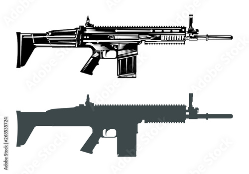 Fotografía fn scar machine gun assault rifle vector image set