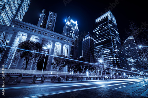 Road City Nightscape Architecture and Fuzzy Car Lights.. Canvas Print