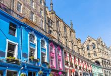 Colorful Victoria Street In Edinburgh Scotland