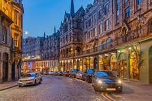 Colorful Victoria Street In Edinburgh Scotland At Night