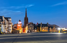 View Over The Esplanade And The Hub In Edinburgh Scotland At Night