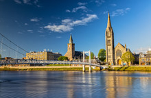 Impression Of Inverness And The Greig Street Bridge In Scotland