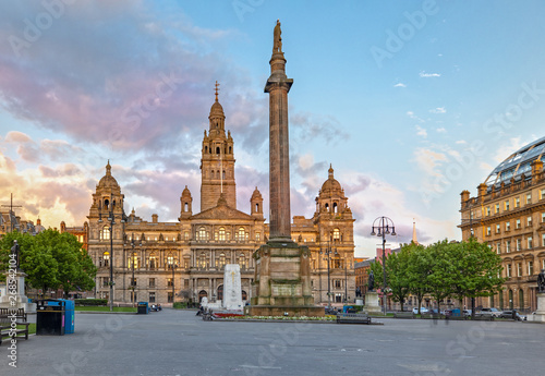 Glasgow City Chambers and George Square in Glasgow, Scotland