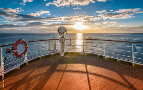 Wooden deck and railing from cruise ship Fototapete