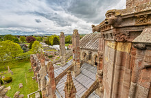 View Over The Melrose Abbey In The Scottish Borders, Scotland