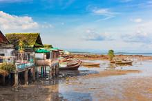 Fishing Village Ban Ba Tu Pu Pe At Low Tide On The Island Of Koh Libong, Thailand