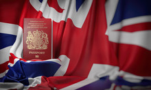 British Passport On The Flag O...