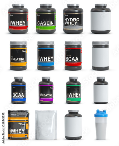 Sport nutrition containers. Set of templates of jars and packs of differnt types. Whey, bcaa and creatine. - 268543393