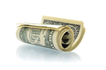 Dollars USA Rolled Up Isolated On White