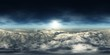 Leinwanddruck Bild - HDRI, environment map , Round panorama, spherical panorama, equidistant projection, panorama 360, Panorama of clouds, flying above the clouds, the starry sky above the clouds,