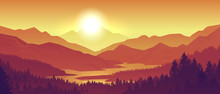 Mountain Sunset Landscape. Realistic Pine Forest And Mountain Silhouettes, Evening Wood Panorama. Vector Illustration Wild Nature Background