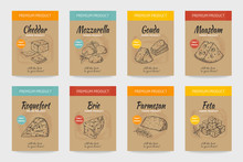 Cheese Posters. Gourmet Food Vintage Sketch, Organic Menu Design, Cheese And Milk Product Package. Vector Doodle Hand Draw Snacks Banner Set
