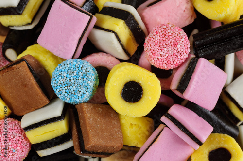 Poster Confiserie Liquorice all sorts fondant and liquorice sweets or candy