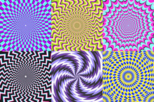 Psychedelic Spiral. Optical Illusion, Delusion Spirals And Colorful Abstraction Hypnosis Spiral Vector Illustration Set