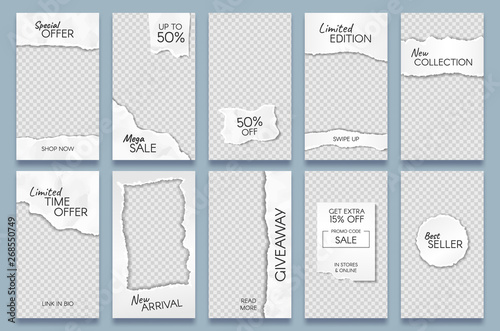 Poster Retro sign Torn paper stories template. Paper scraps social media story posts branding, minimal trends photo frames templates layout vector set