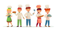 Young Chefs. Happy Children Cooks, Kids Cooking And Baking In Chef Costume Cartoon Vector Illustration