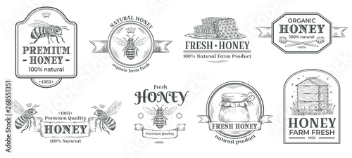 Canvas Print Honey farm badge