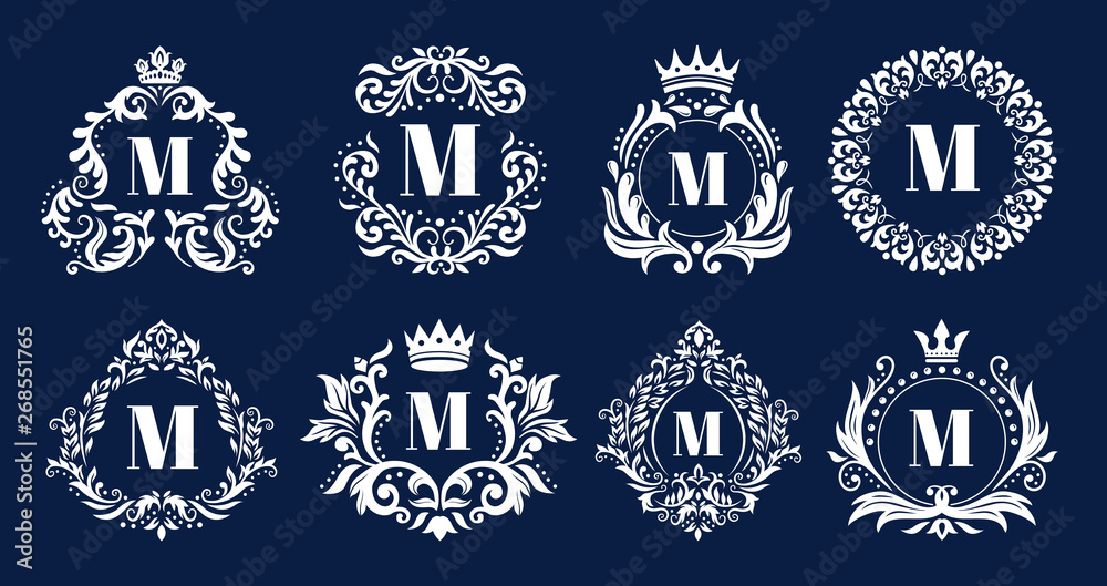 Fototapeta Luxury monogram frame. Ornamental monograms, heraldic initials logo ornament and elegant letters border frames vector illustration set