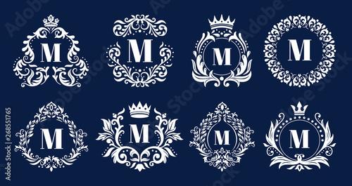 Luxury monogram frame Wallpaper Mural