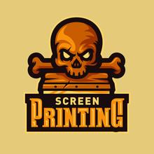 Skull Head Screen Printing Esport Logo Mascot Vector Illustration