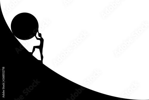 Obraz na plátně man pushing big boulder uphill