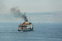 Ferry Boat Sails On Foggy Weat...