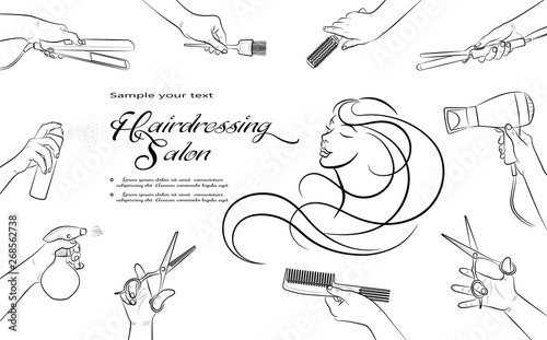 Hairdressing salon. Barbershop and Beauty hair. Horizontal banner