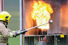 A Fireman Demonstrates The Res...