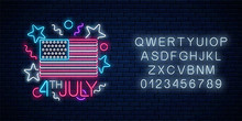 USA Independence Day Glowing Neon Sign With Usa Flag And Alphabet. 4th July Holiday Banner.