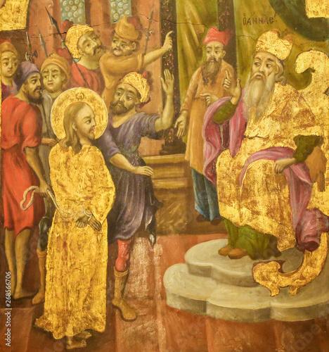 Obraz na plátně Fresco in Church of the Holy Sepulchre, Jerusalem - Sanhedrin Trial of Jesus