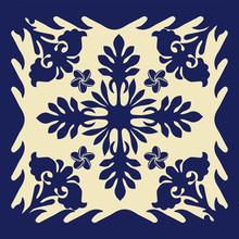 ハワイアンキルトのパターン(青) 自然・背景イラスト テクスチャ 夏のイメージ ベクターデータ Hawaiian Quilt Background