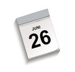 Calendar, tear-off calendar with date 26 June, Tear-off calendar, Vector illustration isolated on white background
