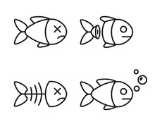Set Of Fish Icons. Dead And Li...