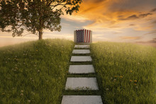 3d Rendering Of American Flag Laying On Grave At The Peaceful Flower Meadow To Remember The Memorial Day