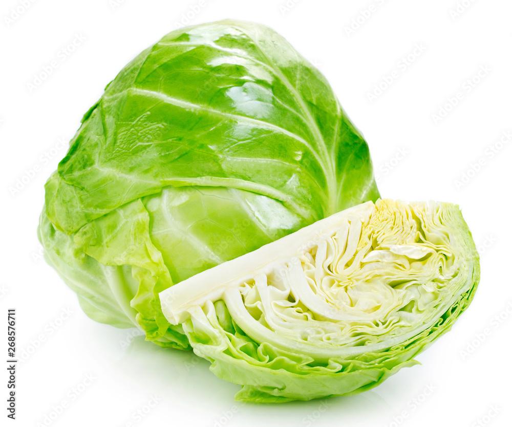 Fototapety, obrazy: Fresh cabbage on white background