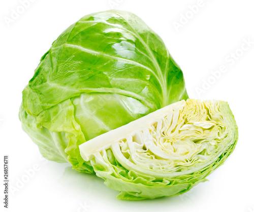 Fresh cabbage on white background