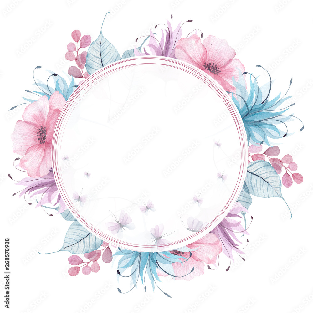 Fototapety, obrazy: Watercolor floral frames with delicate pink, blue, lilac flowers, petals, branches, leaves, twigs, butterflies, bird for wedding invitations, greeting cards