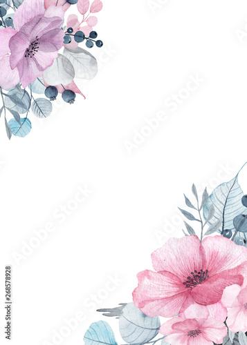 Fotografie, Obraz  Watercolor floral frames with delicate pink, blue, lilac flowers, petals, branch