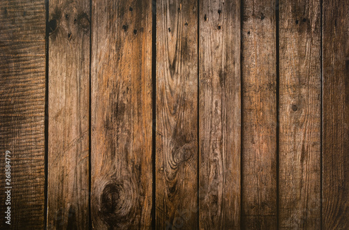 Brown wood plank texture background. hardwood floor - 268584779