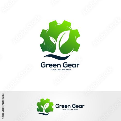 gear logo designs concept, nature industrial logo design template, service logo Wallpaper Mural