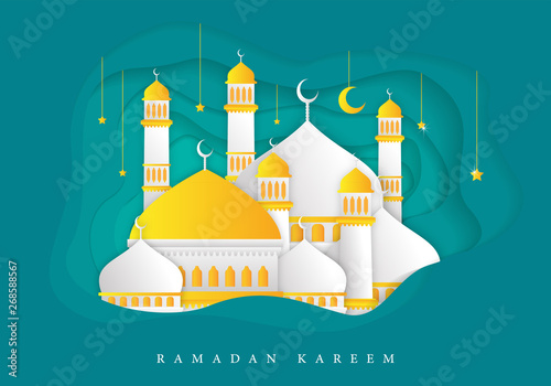 Cuadros en Lienzo Ramadan Kareem Background Template With Trendy and Modern Concept Design Vector