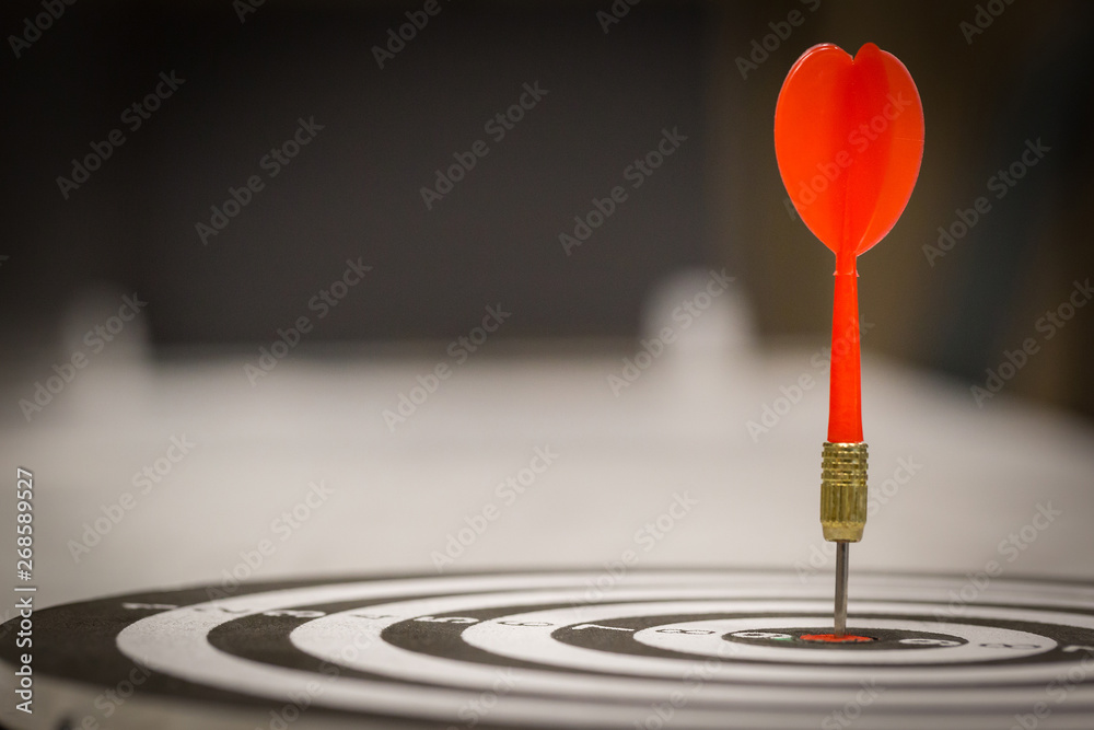 Fototapety, obrazy: Red dart arrow hitting in the target center of dartboard on bullseye with sun light vintage style, Target marketing and business success concept - Image.