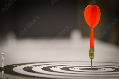 Fotografía  Red dart arrow hitting in the target center of dartboard on bullseye with sun light vintage style, Target marketing and business success concept - Image