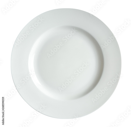 White plate isolated on white background.