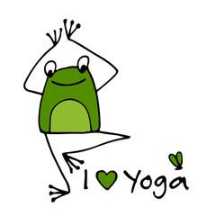 Fototapeta Sport Funny yoga frog, sketch for your design