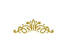 Vintage Elegant Gold Tiara Logo Illustration In Isolated White Background