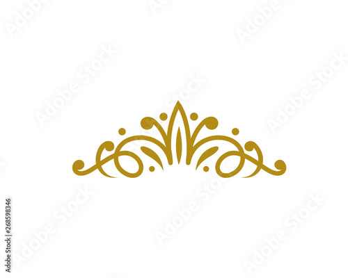 Fotografia  Vintage Elegant Gold Tiara Logo Illustration In Isolated White Background